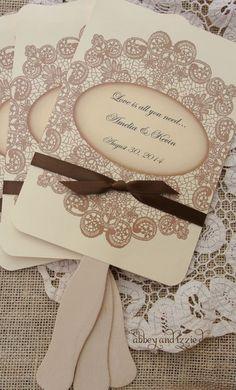 Wedding Favors Wedding Fans Rustic by abbeyandizziedesigns Country Wedding Favors, Wedding Party Favors, Hand Fans For Wedding, Summer Wedding, Trendy Wedding, Lace Weddings, Wedding Paper, Wedding Programs, Wedding Stationery