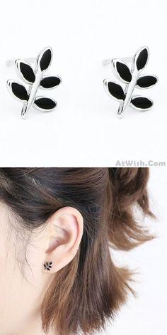 Sweet Leaves Retro Mini Silver Girl's Earring Studs Cute Spring Simple Black Leaf Earrings for big sale! #retro #mini #silver #sweet #cute #earring #leaf