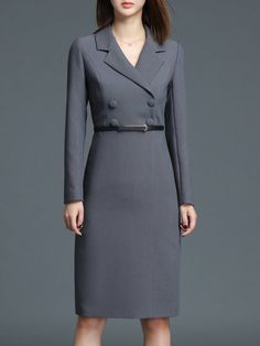 Gray Buttoned Solid Bodycon Formal Midi Dress with Belt