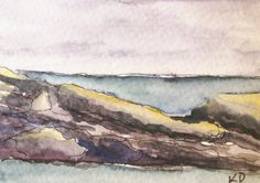 https://www.etsy.com/treasury/MTczMjYxOTB8MjcyMjM3NDAwMQ/purples-and-pinks Maine Painting. Seascape Watercolor Pen and Ink by kathleendaughan, $18.00
