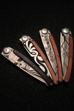 Fantastic tattoo designs on these minimalist blades by Deejo Knives.http://kcoti.com/1JEtj3n