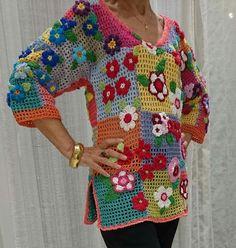 Filet Crochet, T-shirt Au Crochet, Pull Crochet, Crochet Jumper, Freeform Crochet, Crochet Blouse, Irish Crochet, Crochet Crafts, Crochet Basket Pattern