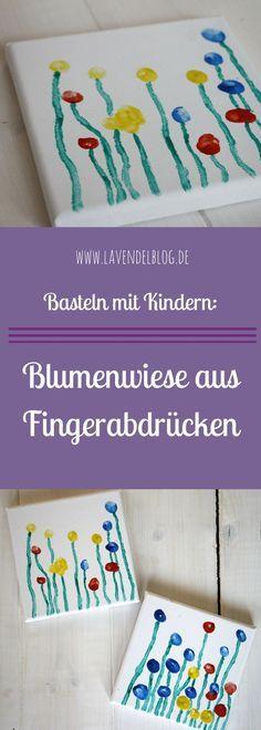 Ein Kinder Fingerabdruck ist die Basis dieser DIY Idee. Die Kinder Fingerabdrücke ergeben auf einer Leinwand eine Blumenwiese aus Fingerabdrücken. Eine schönes DIY Projekt für Babys und Kleinkinder. Eine Geschenkidee für Oma und Opa oder zum Selbstaufhängen.