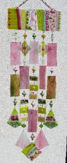 Kirk's Glass Art fused and stained glass windchimes - In the Pink