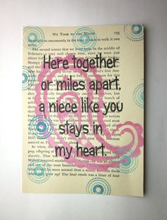 Poem for a Niece | Niece quote saying poem print on a book page by ESPARTOstudio