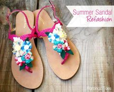 Summer Sandal Refashion from Flamingo Toes via Thirty Handmade Days
