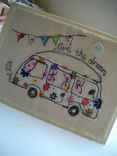 A quirky campervan card left blank inside for your own message. I use quality fabrics to create a machine embroidered picture on heavy cream Freehand Machine Embroidery, Free Motion Embroidery, Free Machine Embroidery, Free Motion Quilting, Embroidery Applique, Embroidery Cards, Fabric Cards, Fabric Postcards, Sewing Cards