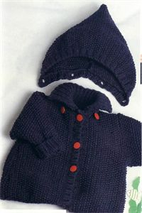 Babies Knitting Patterns Jacket with Removable Hood Knitting Pattern