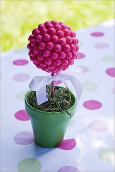Gumball topiary table decorations