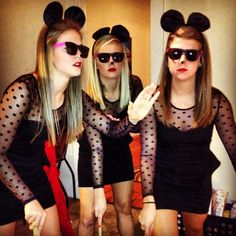 group halloween costume from last year- dresses from Charlotte Russe, dollar store sunglasses, Halloween store mouse ears, and bamboo canes we cut ourselves