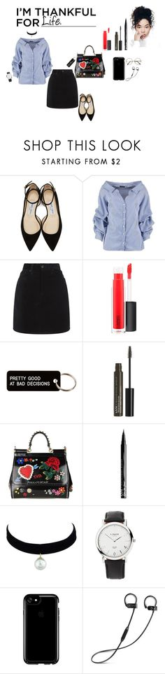 """Giving Thanks <3"" by ovomayah ❤ liked on Polyvore featuring Jimmy Choo, Boohoo, rag & bone, MAC Cosmetics, Various Projects, NYX, Dolce&Gabbana, Links of London and Speck"
