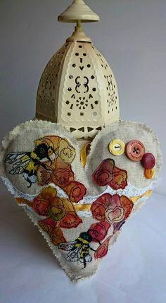 Foxglove heart heart decoration hanging heart by LilCritterDesigns