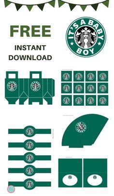 FREE It's a Boy Starbucks Baby Shower Printable - Magical Printable Starbucks Crafts, Starbucks Logo, Free Baby Shower Printables, Free Printables, Printable Box, Paper Toys, Paper Crafts, Starbucks Water Bottle, Instruções Origami