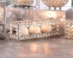 Crystal PRISM gem GLASS diamond LONG Candle holder Wedding table centerpiece #Unbranded #modern #tealightcandleholder