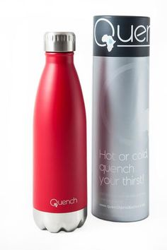 Quench Bottle Red. Unbreakable double wall stainless steel insulated flask. Keeps Beverage cold for 24H and warm for 18H GoodiesHub.com