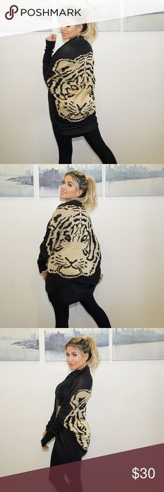 Tiger rounded shawl Tiger face with small sequin details on the eyes. Perfect all black look for winter. Keeps you very warm and stylish. Sweaters Shrugs & Ponchos