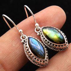 BALI STYLE-925 Sterling Silver Flashy Labradorite Ethnic Handmade earring #Handmade #Earring #Birthday
