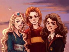 Three Harry Potter girls: Luna Lovegood Ginny Weasley Hermione Granger by WiebkeArt - harry potter fan art wizarding world wizard witch hogwarts magic fantasy jk rowling potterhead ravenclaw gryffindor Harry Potter Hermione, Fanart Harry Potter, Arte Do Harry Potter, Harry Potter Girl, Harry Potter Drawings, Harry Potter Characters, Harry Potter Fandom, Harry Potter Universal, Harry Potter Memes