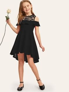 To find out about the Girls Embroidered Mesh Yoke Dip Hem Dress at SHEIN, part of our latest Girls Dresses ready to shop online today! Girls Dresses Tween, Preteen Girls Fashion, Girls Fashion Clothes, Kids Outfits Girls, Girl Fashion, Fashion Outfits, Fancy Dresses For Tweens, Cute Girl Outfits, Dress Outfits