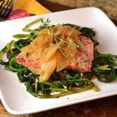 Apple-Dijon Salmon - 352 calories  (5 oz salmon, 2/3 cup broccoli rabe, 1/3 cup apple-Dijon mixture)