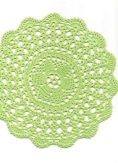 Crochet doily, lace doily, table decoration, place mat, napkin, pastel green £4.00