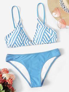 55173c069f5d2 Shein Chevron Top With Panty Bikini Set