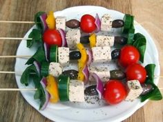 greek salad skewers with tofu feta. Substitute tofu with mozzarella