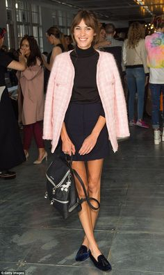 Alexa Chung (with Chanel jacket) - At the House of Holland show for London Fashion Week.  (September 2014)
