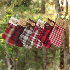 Rustic Christmas Stocking Personalized Wood Slice Name Tag Redwood Cone Rustic Woodland Christmas Plaid Flannel Christmas Stocking