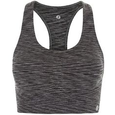 New Look Grey Space Dye Sports Crop Top (€9,40) ❤ liked on Polyvore featuring tops and grey