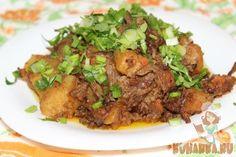 Рецепт: Говяжья грудинка с картошкой, томленая в мультиварке
