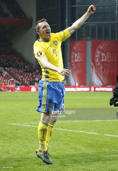 Kim Kallstrom of Sweden celebrates the victory and the qualification for the EURO 2016 following the UEFA EURO 2016 qualifier play-off second leg match between Denmark and Sweden at Telia Parken stadium on November 17, 2015 in Copenhagen, Denmark.