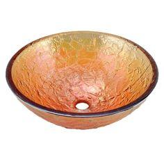 "JSG Oceana Gold Reflections 17"" Glass Bathroom Vessel Sink"