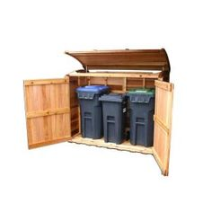 Oscar Waste Management Shed from Outdoor Living Today keeps those pesky critters out of the refuse materials. Easy to use. Outdoor Storage Bin, Recycling Bin Storage, Backyard Storage, Shed Storage, Storage Bins, Storage Containers, Garbage Recycling, Garbage Can Shed, Garbage Can Storage