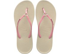 <p>The Ring features an all-new shape and an injected sole that combines with our signature textured footbed for extra comfort. Chic style comes courtesy of a sleek strap with a metal ring accent and a tonal Havaianas logo.</p><ul><li>Thong style</li><li>Cushioned footbed with textured rice pattern and injected rubber flip flop sole</li><li>Made in Brazil</li></ul>