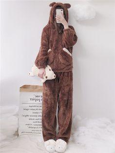 dfe5fde7cba Modakawa Pajamas Women Bear Plush Hooded Pajama Set
