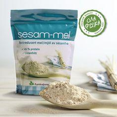Sukrin Sesame Flour -250gr. Το Sesame Flour της Sukrin, είναι ένα αλεύρι σουσαμιού, πλούσιο σε μεταλλικά στοιχεία, με μειωμένη περιεκτικότητα σε λιπαρά. Protein, Food, Honey, Eten, Meals, Diet