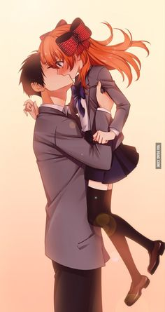 g scream gekkan shoujo nozaki-kun nozaki umetarou sakura chiyo seifuku thighhighs Couple Anime Manga, Anime Couple Kiss, Anime Guys, Manga Anime, Best Anime Couples, Cosplay Anime, Anime Bisou, Anime Shojo, Photo Manga