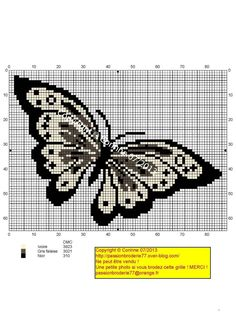 Free Butterfly Cross Stitch Patterns | Papillon crème et noir (Cream and black butterfly), designed by ...