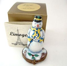 Limoges Box - Snowman Carrot Nose with Yellow and Blue Scarf and Gloves