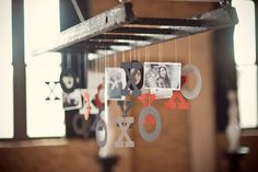 hanging XO's from a black ladder - cute!