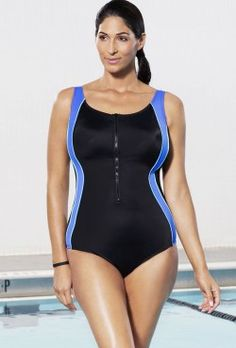 Aquabelle Xtra Life Lycra Blue Zip Tank Swimsuit