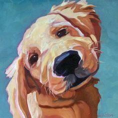 Pet Portrait Golden Retriever Dog Art Print by BarkingDogCreations