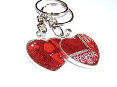 Old computer circuit board heart shape keychain