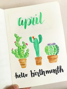 Hello birth month. Cactus in watercolor #fabercastellwatercolorpalette