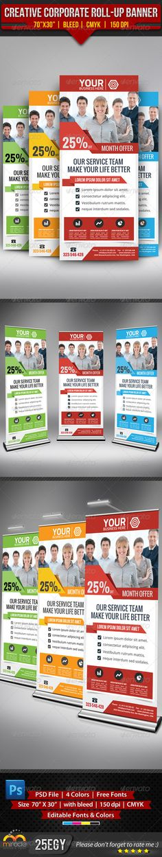 Buy Creative Corporate Roll-Up Banner by on GraphicRiver. Creative Corporate Roll-Up Banner Creative and clean Corporate Roll-Up Banner in 4 Color Set used for all Business pu. Creative Brochure, Creative Flyers, Brochure Design, Letterhead Template, Brochure Template, Flyer Template, Elegant Business Cards, Cool Business Cards, Signage Design