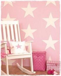 Vaaleanpunainen tähti tapetti - Lastenhuone | Sisustus Kullanmurut