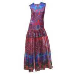 1960's Pierre Cardin Psychedelic Print Pure-Silk Maxi Dress