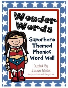 "This product is a perfect addition to any superhero themed (or any theme!) elementary classroom! Instead of a normal word wall, use these labels to help your young students identify the various phonics word patterns.  The product contains 27 phonics labels and one ""Wonder Words"" sign."