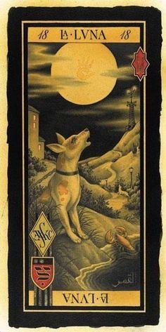 The Moon (tarot card) - Christopher Conn Askew La Danse Macabre, The Moon Tarot Card, Tarot Major Arcana, Cartomancy, Tarot Readers, Pop Surrealism, Oracle Cards, Mellow Yellow, Tarot Decks